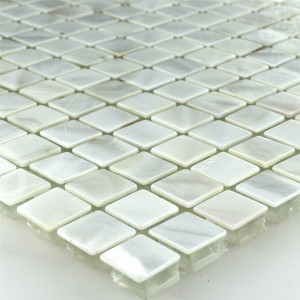 SAMPLE Mosaic Tiles Glass Nacre Effect Ivory White 15x15x8mm