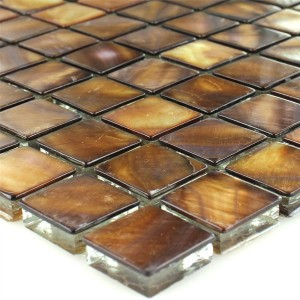Mosaic Tiles Glass Nacre Effect Brown Gold 23x23x8mm