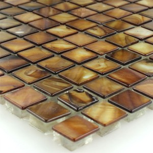 Mosaic Tiles Glass Nacre Effect Brown Gold 15x15x8mm