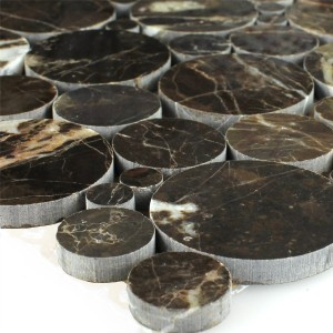 SAMPLE Mosaic Tiles Marble Round Round Emperador Polished