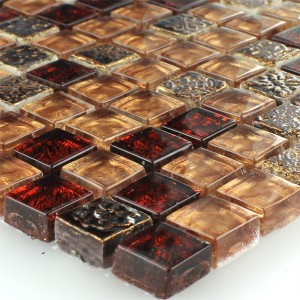 SAMPLE Mosaic Tiles Glass Limestone Red Bronze 15x15x8mm