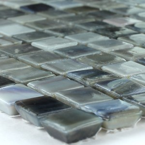 Mosaic Tiles Glass Blue Grey Mix Inked 15x15x7mm