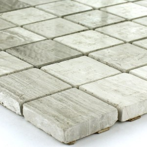 Mosaic Tiles Marble Limestone Grey Polished 23x23x8mm