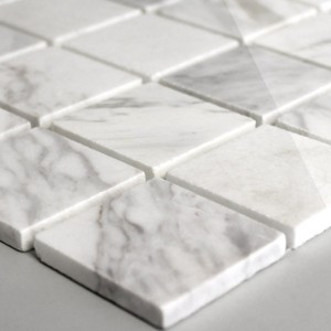 SAMPLE Mosaic Tiles Marble 48x48x8mm White Polished