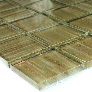 Mosaic Tiles Glass 48x48x8mm Pastel Green Gold Metal