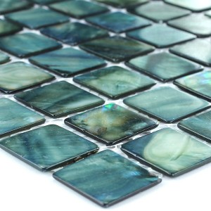Mosaic Tiles Glass Nacre Effect 25x25x2mm Green