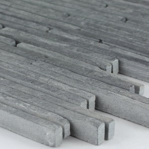 Quartzite Natural Stone Mosaic Anthracite Stripes
