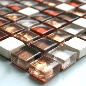 Mosaic Tiles Glass Marble 15x15x8mm Red Mix