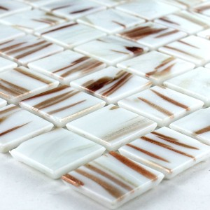 Mosaic Tiles Glass 20x20x4mm Gold Effect White