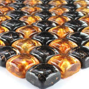 Mosaic Tiles Glass on the Rocks Brown Gold