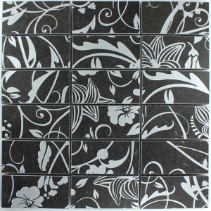 SAMPLE Teros Porcelain Stoneware Mosaic Tiles Ornament Flower Black