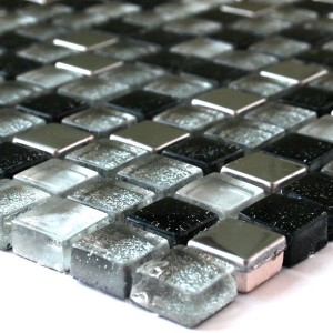 Mosaic Tiles Glass Stainless Steel Black Silver Mix