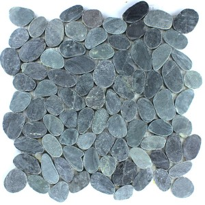 Mosaic Tiles Pebble Black Serrated