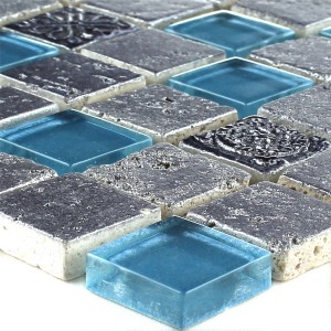 Mosaic Tiles Glass Resin Mix Blue Silver