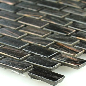Mosaic Tiles Glass Goldstar Brown Mini Brick