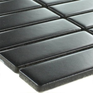 Mosaic Tiles Ceramic Black Sticks Mat