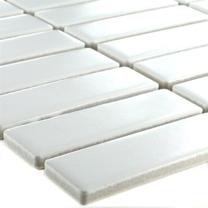 Mosaic Tiles Ceramic White Sticks Mat