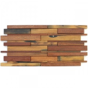 SAMPLE Wood Mosaic Tiles 30x60cm Brown Mix Lacquered