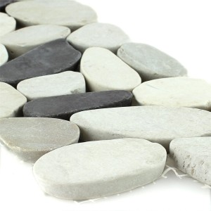 River Pebbles Border 10x30cm White Beige Pink