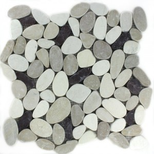 SAMPLE Mosaic Tiles River Pebbles Serrated White Beige Pink