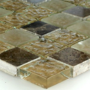Mosaic Tiles Glass Marble Beige Brown Fluted