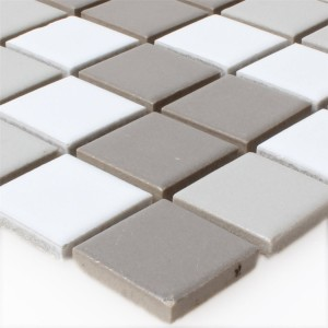 Mosaic Tiles Ceramic White Grey Anthracite Mix