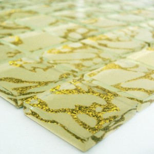 Mosaic Tiles Glass 25x25x4mm Tempel Gold