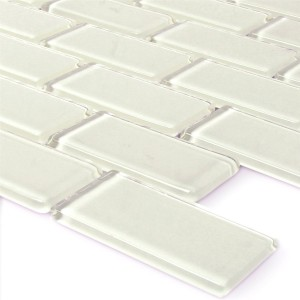 Mosaic Tiles Glass Brick White Glossy 25x50x4mm