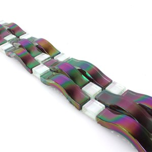 Mosaic Tiles Glass Border Nacre Wave