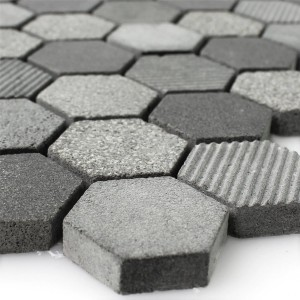 Mosaic Tiles Hexagon Natural Stone Notte Anthracite