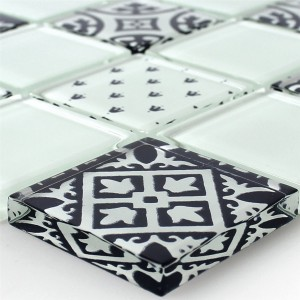 Mosaic Tiles Glass Barock Ornament White