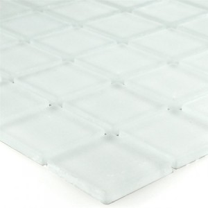 SAMPLE Mosaic Tiles Glass White Mat Uni