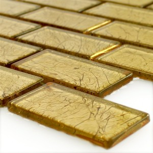 Mosaic Tiles Glass Brick Crystal Gold Structured
