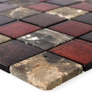 Mosaic Tiles Natural Stone Glass Red Brown 48x48x8mm