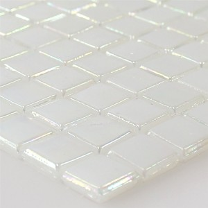 Mosaic Tiles Glass Nacre Effect White Beige