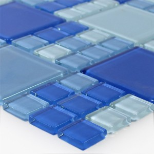 Mosaic Tiles Glass Blue Light Blue Mix