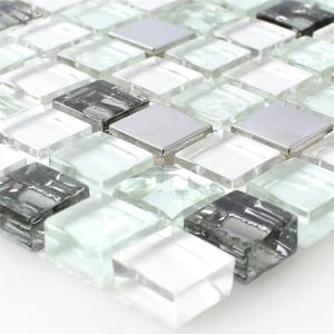 Mosaic Tiles Glass Stainless Steel White 15x15x8mm