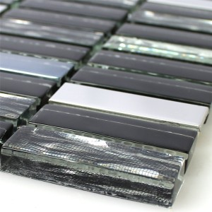 Mosaic Tiles Glass Stainless Steel Black Mix