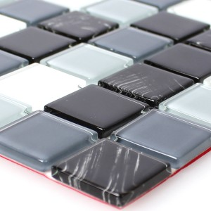 Mosaic Tiles Glass Self Adhesive Black Grey