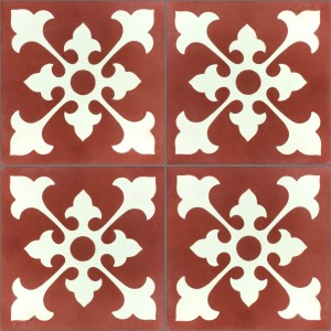 Cement Tiles Belfast Red White