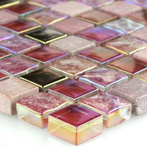 SAMPLE Mosaic Tiles Glass Natural Stone Red Pink Gold