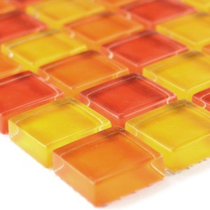 Mosaic Tiles Glass Yellow Orange Red 25x25x8mm