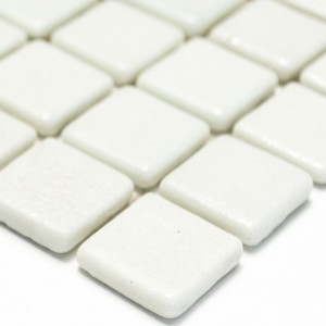 Mosaic Tiles Glass White Uni Non Slip