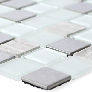 Self Adhesive Metal Mosaic Tiles Glass White