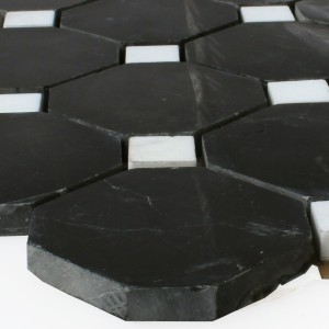 Natural Stone Octagon Mosaic Tiles Black White Polished