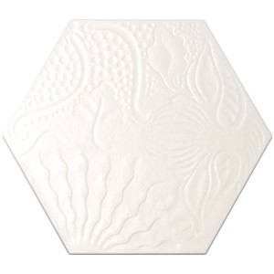Retro Optic Floor Tiles Hexagon Roma White