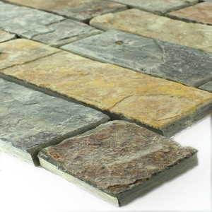 SAMPLE Mosaic Tiles Slate Rost Brown Brick