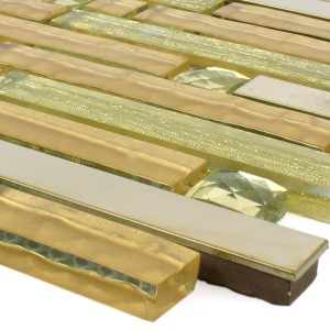 Mosaic Tiles Glass Metal Latoya Gold