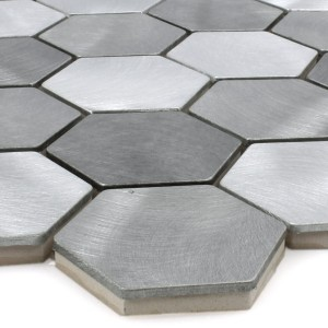Mosaic Tiles Aluminium Manhatten Hexagon Grey Silver