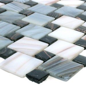 Mosaic Tiles Glass Tahiti Grey White
